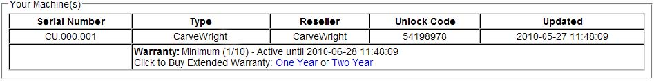 Carvewright Serial Number